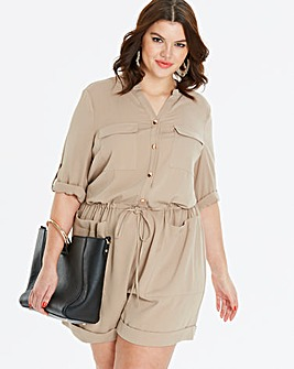 Light Camel Drawstring Playsuit