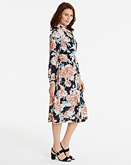 Black Print High Neck A line Dress