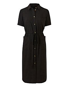 Petite Draw Waist Pocket Shirt Dress