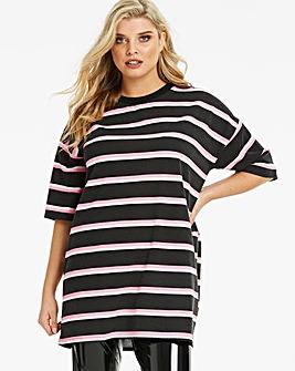 Lasula Oversized Neon Stripe Tshirt