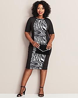 Zebra Print Illusion Bodycon Dress