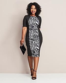 Mono Zebra Print V-Neck Illusion Dress