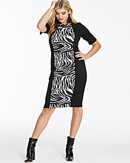 Mono Zebra Print V-Neck Illusion Dress