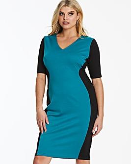 Black/Teal V-Neck Illusion Bodycon Dress