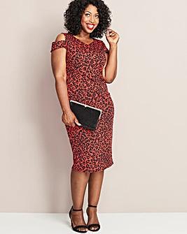 MAGISCULPT Red Leopard Print Dress