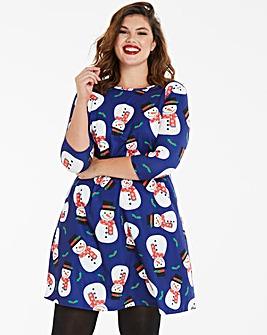 Christmas Snowman Print Novelty Dress