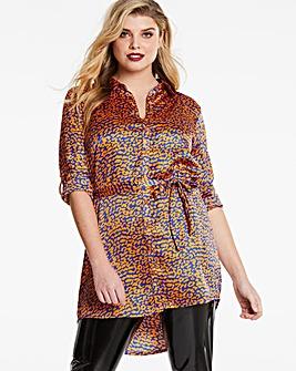 AX Paris Curve Leopard Print Satin Tunic Shirt Dress