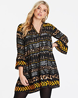 AX Paris Curve Tribal Tiered Swing Dress