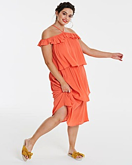 Tiered Crinkle Midi Dress