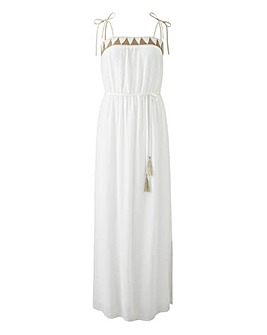 Crinkle Embellished Bardot Dress