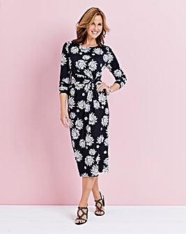 Printed Twist Knot Midi Dress