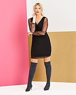 Black V Neck Star Sleeve Dress