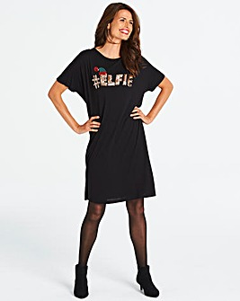 Christmas Elfie Novelty T-Shirt Dress