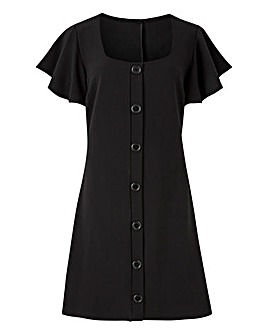 Frill Sleeve Button Front Dress