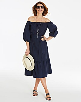 Ink Blue Cotton Poplin Bardot Dress