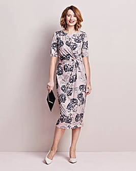 Floral Printed Twist Knot Midi Dress