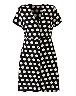 Polka Dot Button Front Tea Dress