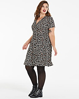 Leopard Button Front Tea Dress