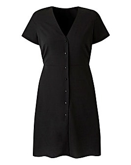 Black Button Front Tea Dress