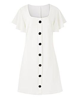 Frill Sleeve Button Front Dress