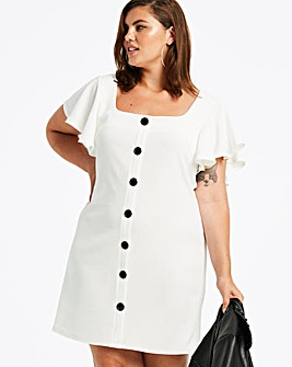 Ivory Frill Sleeve Button Front Dress