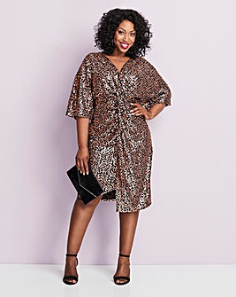 Rose Gold Stretch Sequin Kimono Dress