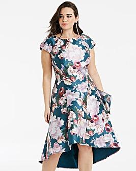 Chi Chi London Floral Print Dip Dress