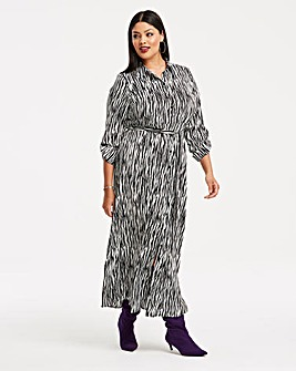 Zebra Print Maxi Shirt Dress