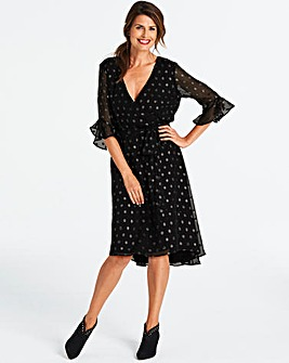 Mock Wrap Midi Dress