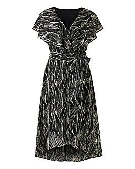 Black/White Leaf Print Mock Wrap Dress