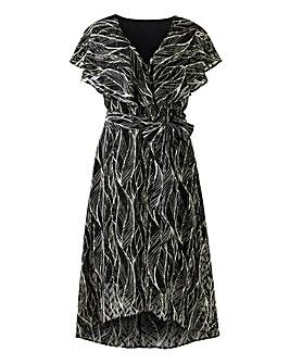 Black/White Leaf Print Mock Wrap Dress