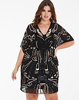 Kimono Sleeve Embellished Shift Dress