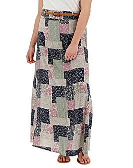 Apricot Patchwork Maxi Skirt