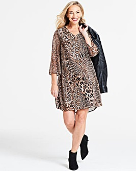 Leopard Print V-Neck Shift Dress