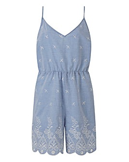 Chamb Blue Broderie Playsuit