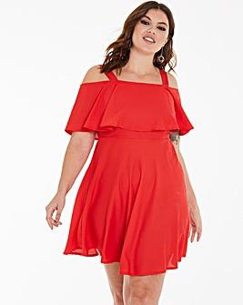 Red Cold Shoulder Skater Dress