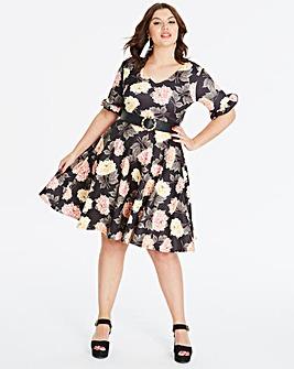 Black/Multi Sleeve Stretch Skater Dress
