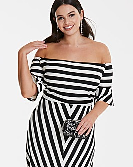 Fluted Sleeve Bardot Dress