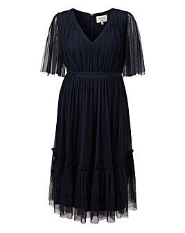 Anaya V neck kimono sleeve midi dress