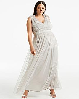 Anaya V neck ribbon waist maxi dress