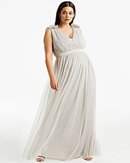 Anaya V neck ribbon waist maxi dress