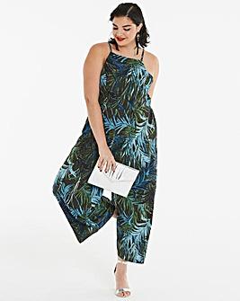 Palm Print Culotte Jumpsuit