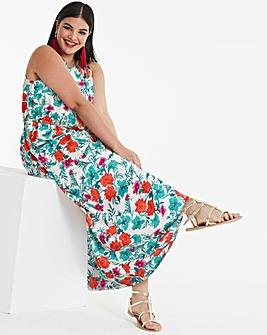 Floral Print Halter Neck Maxi Dress