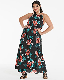 Floral Print Halter Neck Maxi Dress