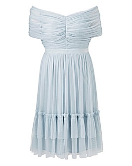 Anaya ribbon detail bardot midi dress