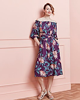 Print Bardot Midi Dress