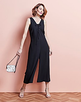 Lace Up Culotte Jumpsuit