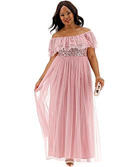 Maya Curve Rufflle Bardot Sequin Dress