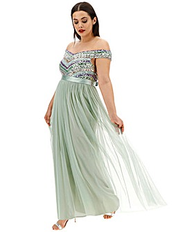 Maya Curve MultiSequin Bardot Maxi Dress