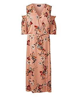 Lovedrobe Open Shoulder Floral Print Satin Wrap Dress